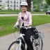 Subject: Rebecca Grossberg, Car-Free Challenge leader; Location: Bike path near Monona Terrace, Madison, WI; Date: Spring 2004; Photographer: Sonya Newenhouse